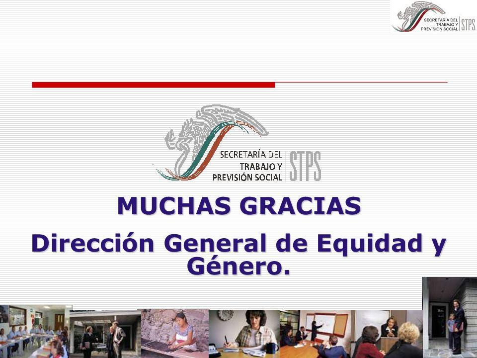 MUCHAS GRACIAS Dirección General de Equidad y Género.