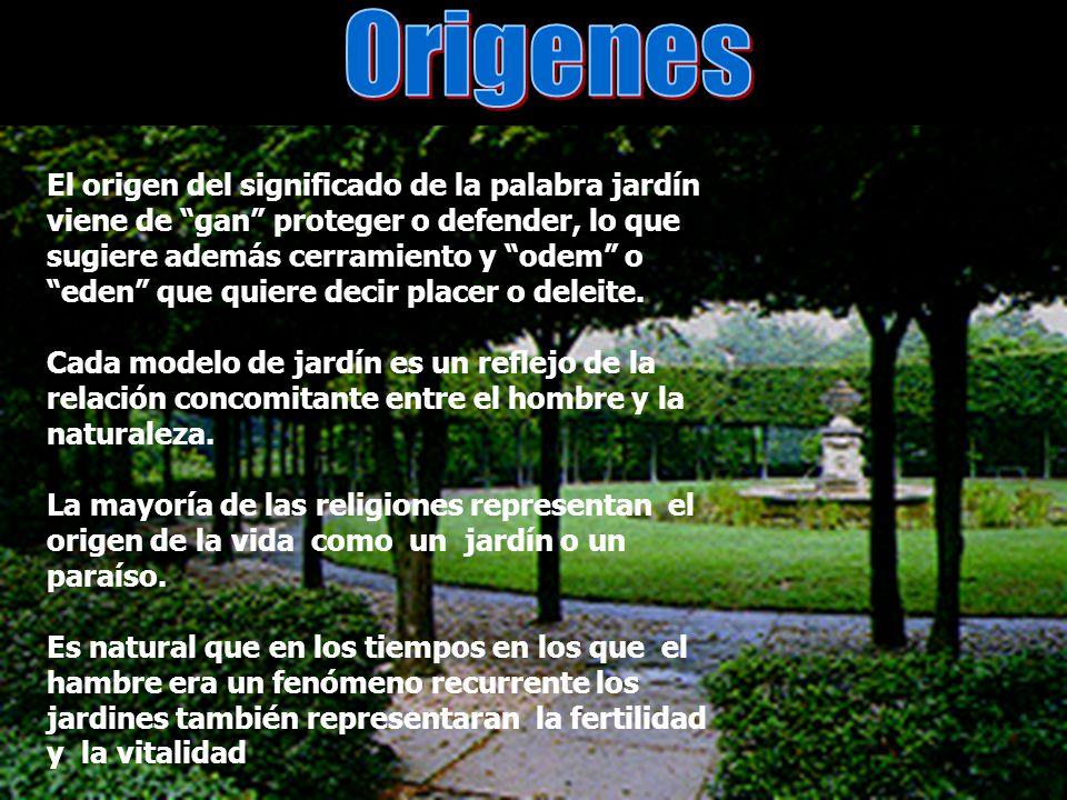 El origen del significado de la palabra jardín viene de gan proteger o defender, lo que sugiere además cerramiento y odem oeden que quiere decir place