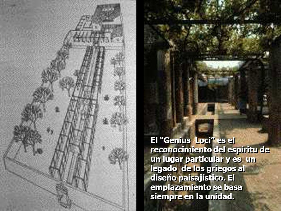 El Genius Loci es el reconocimiento del espíritu de un lugar particular y es un legado de los griegos al diseño paisajístico. El emplazamiento se basa