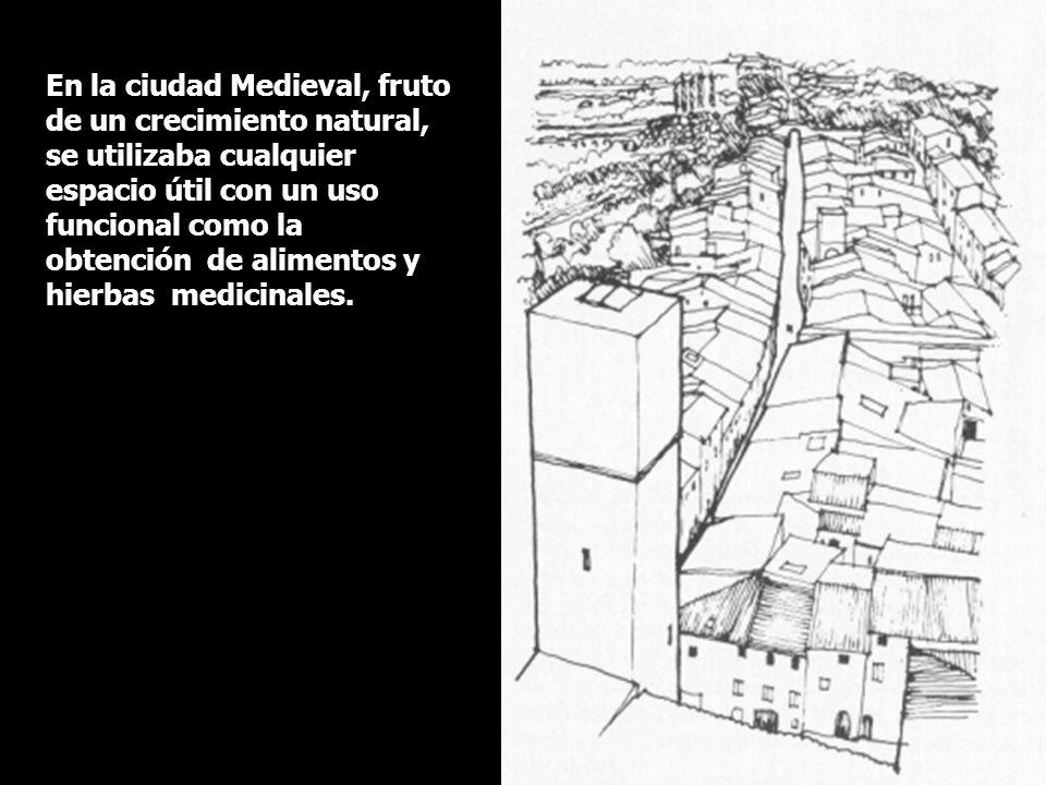 En la ciudad Medieval, fruto de un crecimiento natural, se utilizaba cualquier espacio útil con un uso funcional como la obtención de alimentos y hier