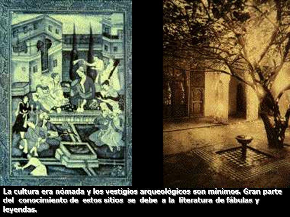 La cultura era nómada y los vestigios arqueológicos son mínimos. Gran parte del conocimiento de estos sitios se debe a la literatura de fábulas y leye