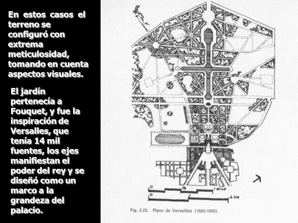 En estos casos el terreno se configuró con extrema meticulosidad, tomando en cuenta aspectos visuales. El jardín pertenecía a Fouquet, y fue la inspir