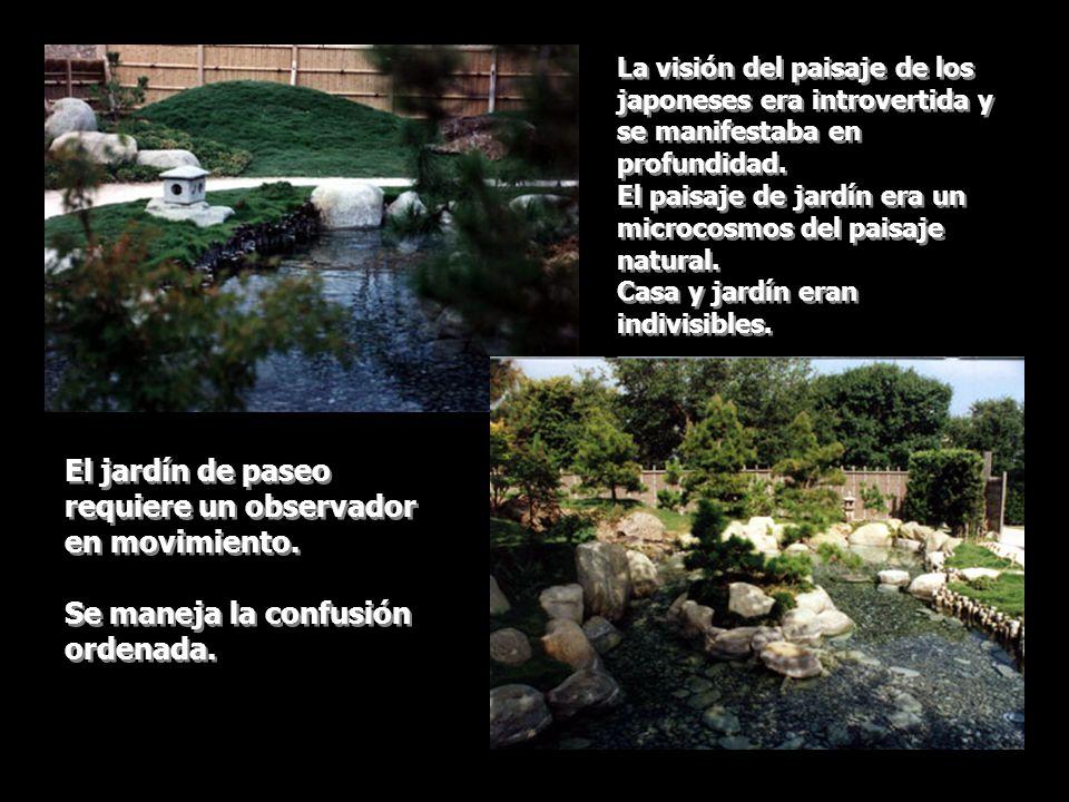 Al principio el patio desnudo con suelo de grava para ritos se transforma con la introducción de los elementos del entorno natural: agua, roca y árboles, seguidos de pequeñas colinas, islas y puentes.