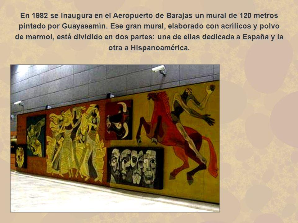 En 1982 se inaugura en el Aeropuerto de Barajas un mural de 120 metros pintado por Guayasamín. Ese gran mural, elaborado con acrílicos y polvo de marm