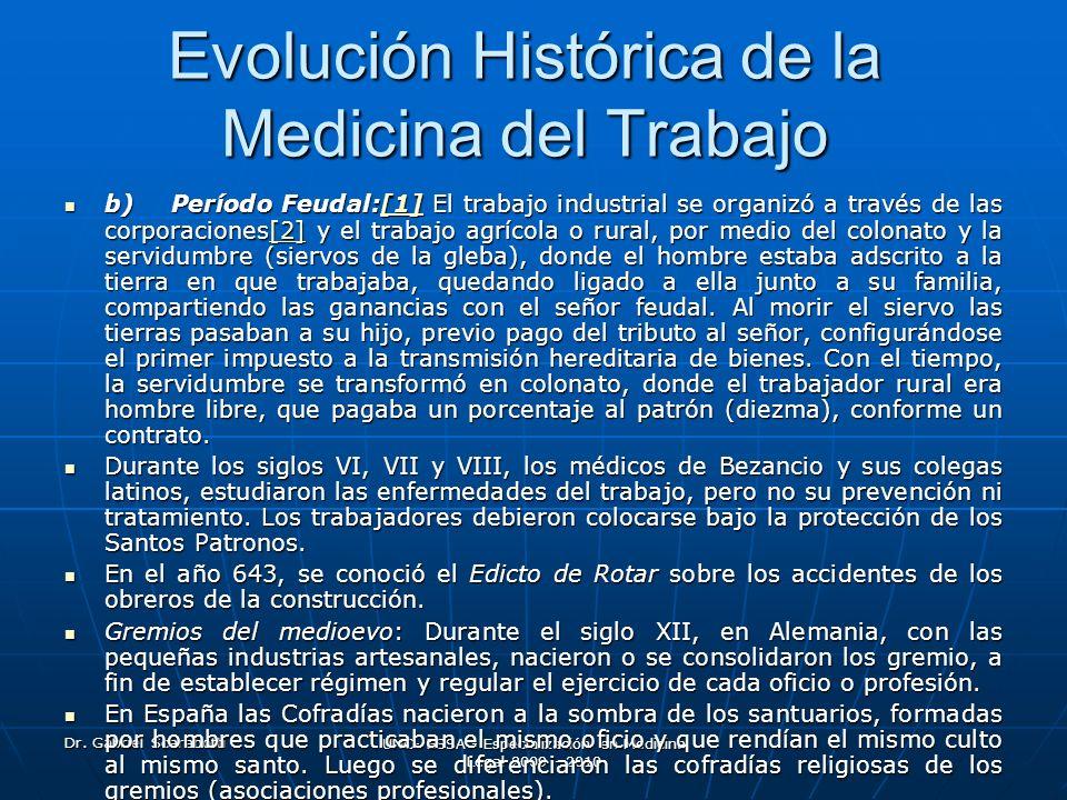 Dr. Gabriel Scarabotti UNC- ESSA - Especialización en Medicina Legal 2009 - 2010 Evolución Histórica de la Medicina del Trabajo b) Período Feudal:[1]