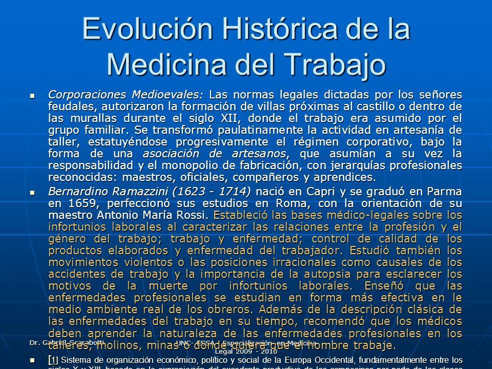 Dr. Gabriel Scarabotti UNC- ESSA - Especialización en Medicina Legal 2009 - 2010 Evolución Histórica de la Medicina del Trabajo Corporaciones Medioeva