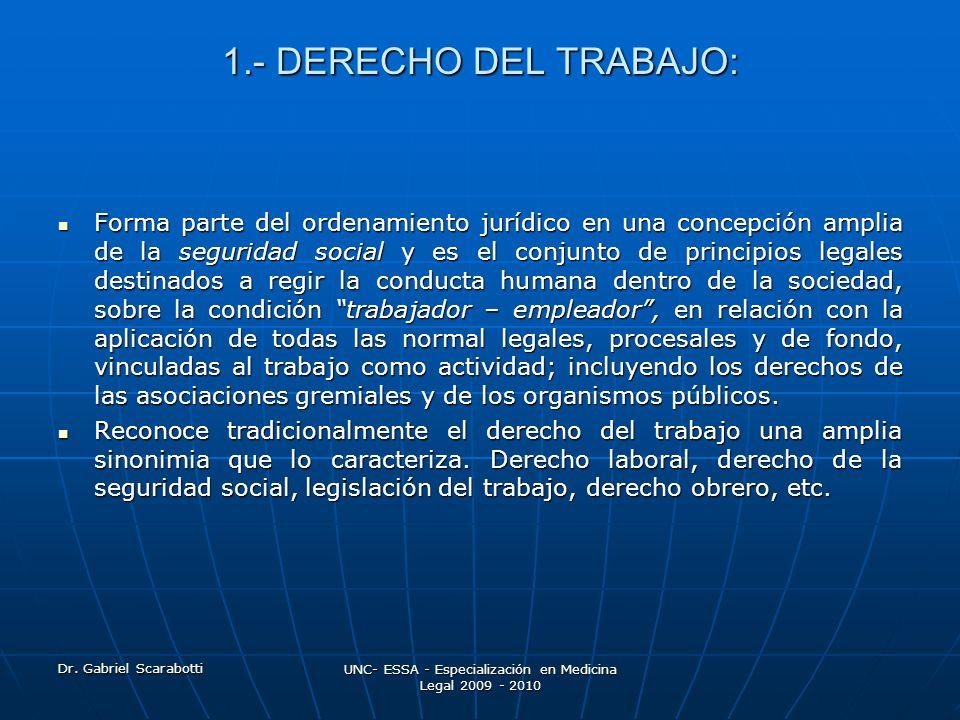 Dr. Gabriel Scarabotti UNC- ESSA - Especialización en Medicina Legal 2009 - 2010 1.- DERECHO DEL TRABAJO: Forma parte del ordenamiento jurídico en una