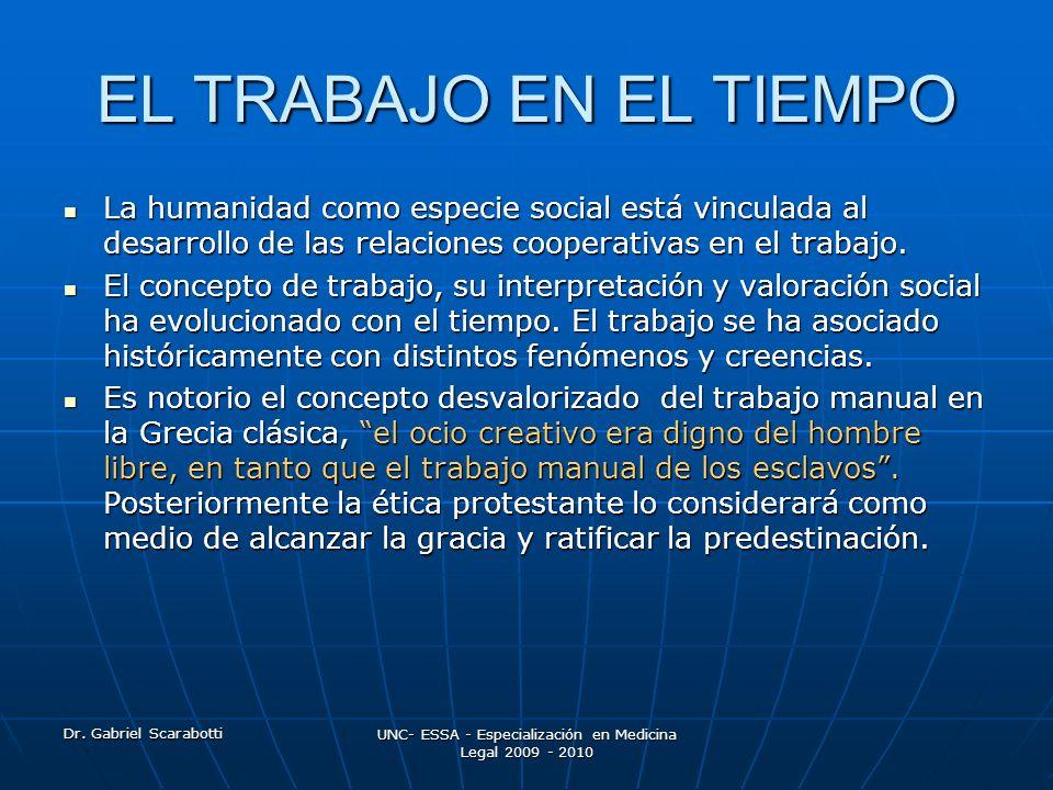 Dr. Gabriel Scarabotti UNC- ESSA - Especialización en Medicina Legal 2009 - 2010 EL TRABAJO EN EL TIEMPO La humanidad como especie social está vincula