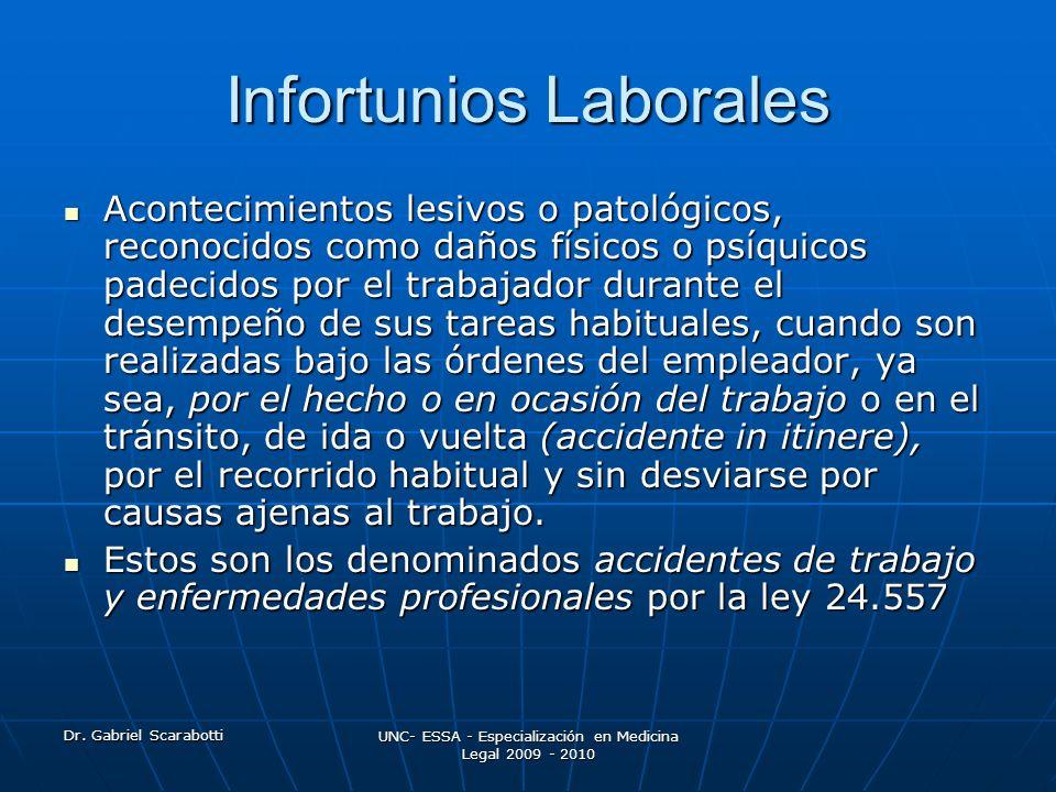 Dr. Gabriel Scarabotti UNC- ESSA - Especialización en Medicina Legal 2009 - 2010 Infortunios Laborales Acontecimientos lesivos o patológicos, reconoci