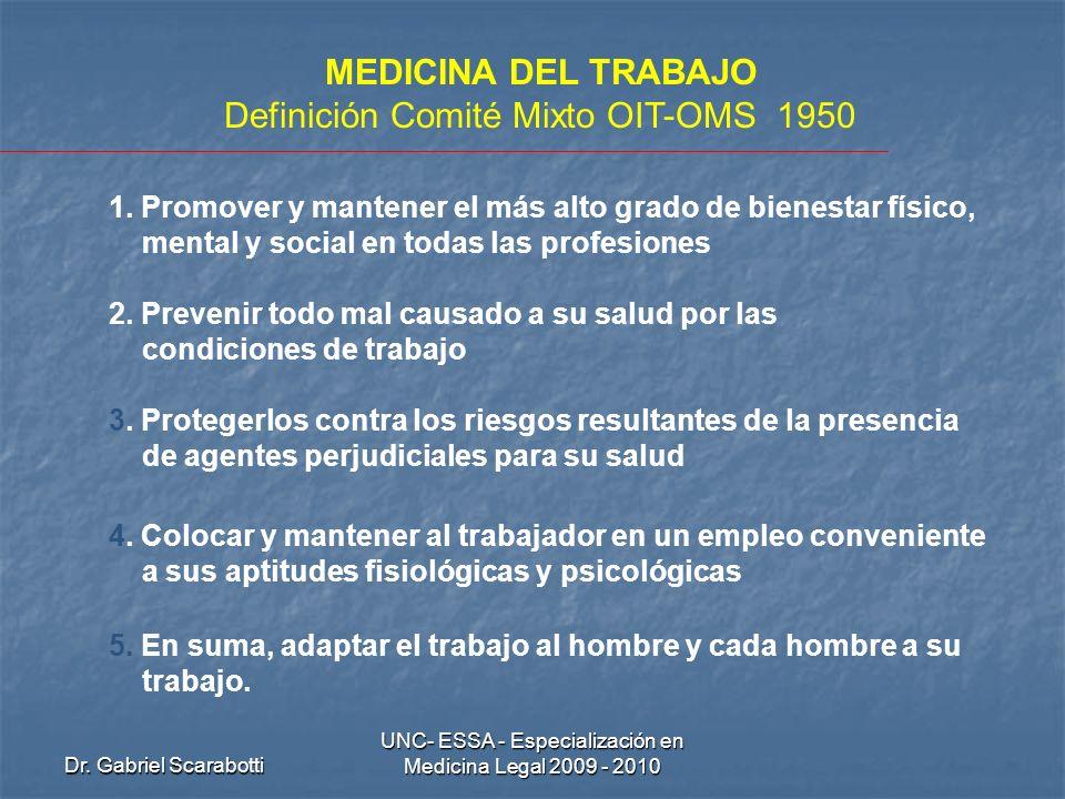 Dr. Gabriel Scarabotti UNC- ESSA - Especialización en Medicina Legal 2009 - 2010 MEDICINA DEL TRABAJO Definición Comité Mixto OIT-OMS 1950 1. Promover