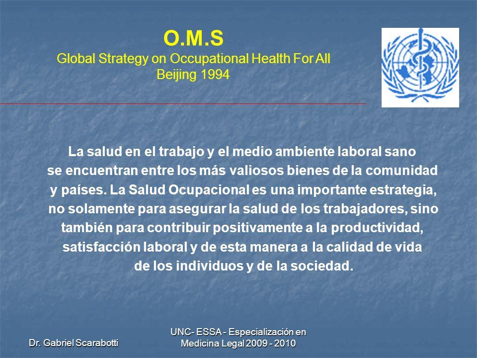 Dr. Gabriel Scarabotti UNC- ESSA - Especialización en Medicina Legal 2009 - 2010 O.M.S Global Strategy on Occupational Health For All Beijing 1994 La