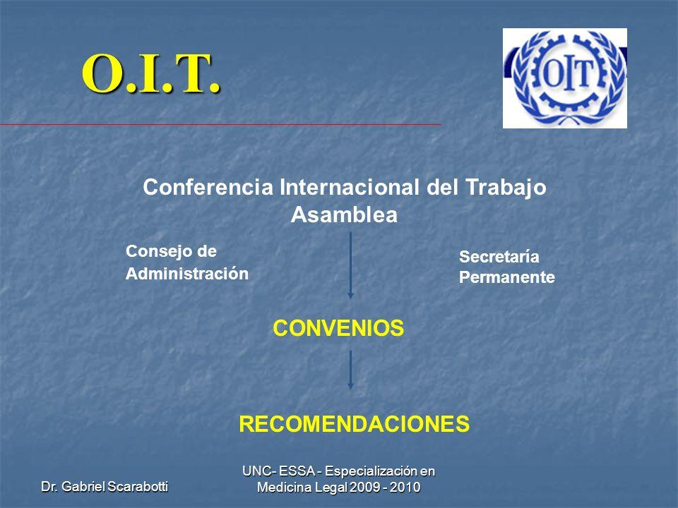 Dr. Gabriel Scarabotti UNC- ESSA - Especialización en Medicina Legal 2009 - 2010 O.I.T. Conferencia Internacional del Trabajo Asamblea Consejo de Admi