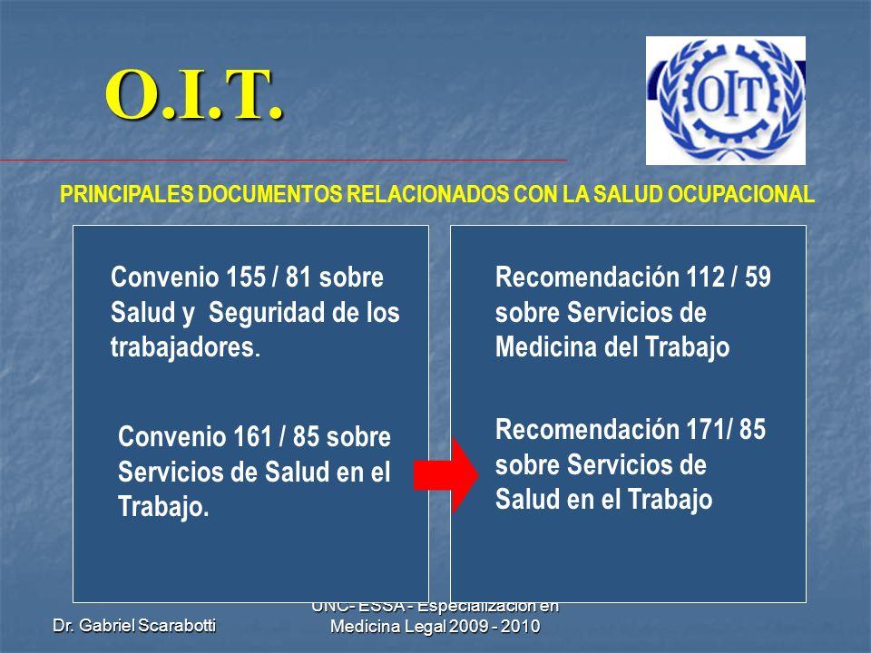 Dr. Gabriel Scarabotti UNC- ESSA - Especialización en Medicina Legal 2009 - 2010 O.I.T. PRINCIPALES DOCUMENTOS RELACIONADOS CON LA SALUD OCUPACIONAL C
