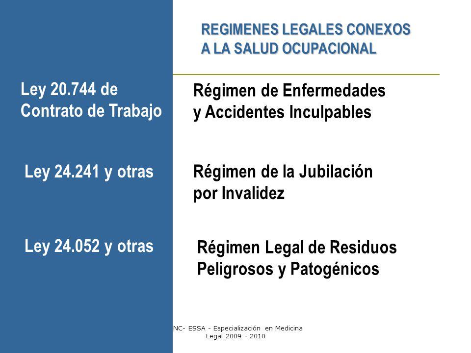 Dr. Gabriel ScarabottiUNC- ESSA - Especialización en Medicina Legal 2009 - 2010 REGIMENES LEGALES CONEXOS A LA SALUD OCUPACIONAL Régimen de Enfermedad