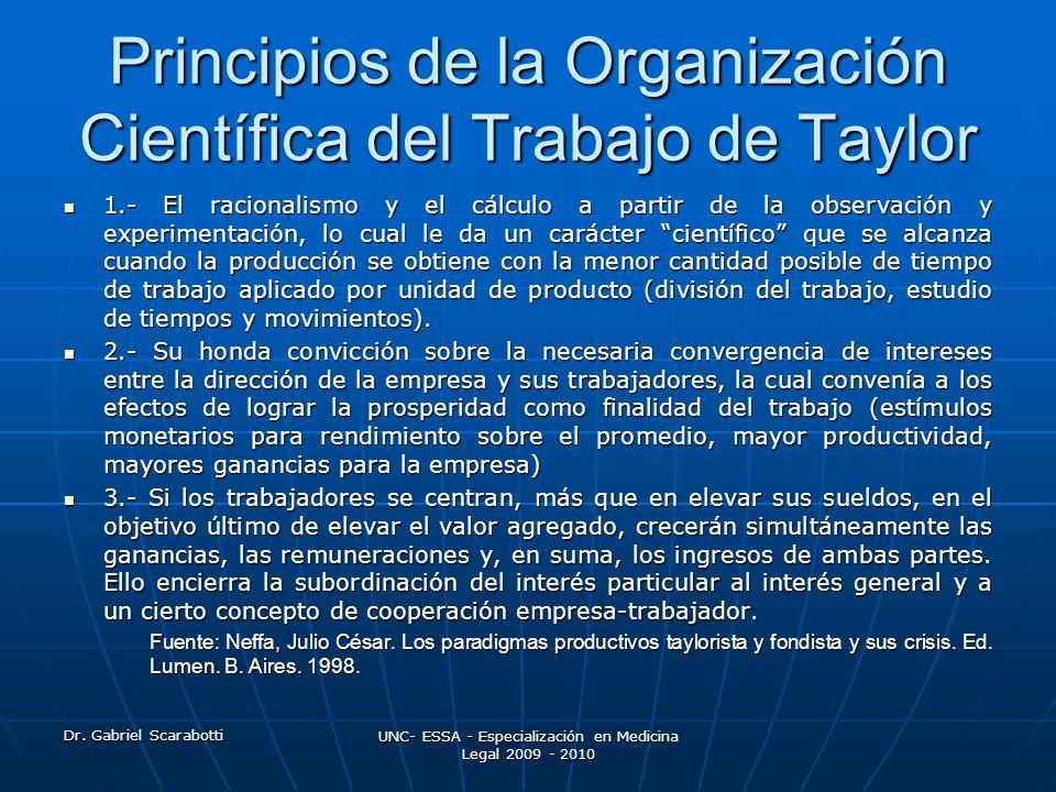 Dr. Gabriel Scarabotti UNC- ESSA - Especialización en Medicina Legal 2009 - 2010 Principios de la Organización Científica del Trabajo de Taylor 1.- El