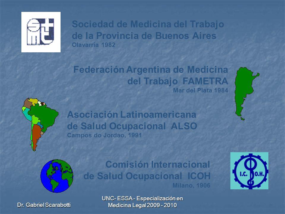 Dr. Gabriel Scarabotti UNC- ESSA - Especialización en Medicina Legal 2009 - 2010 Federación Argentina de Medicina del Trabajo FAMETRA Mar del Plata 19