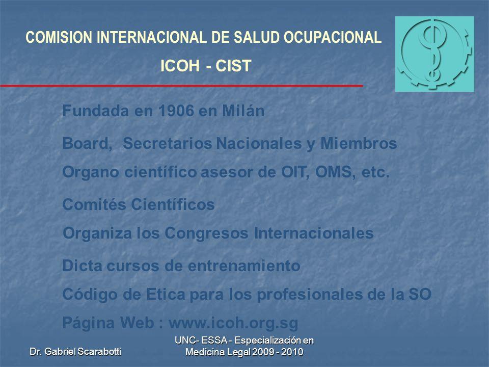 Dr. Gabriel Scarabotti UNC- ESSA - Especialización en Medicina Legal 2009 - 2010 COMISION INTERNACIONAL DE SALUD OCUPACIONAL ICOH - CIST Fundada en 19