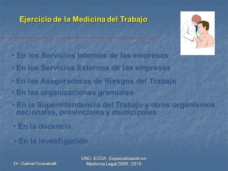 Dr. Gabriel Scarabotti UNC- ESSA - Especialización en Medicina Legal 2009 - 2010 Ejercicio de la Medicina del Trabajo En los Servicios Internos de las