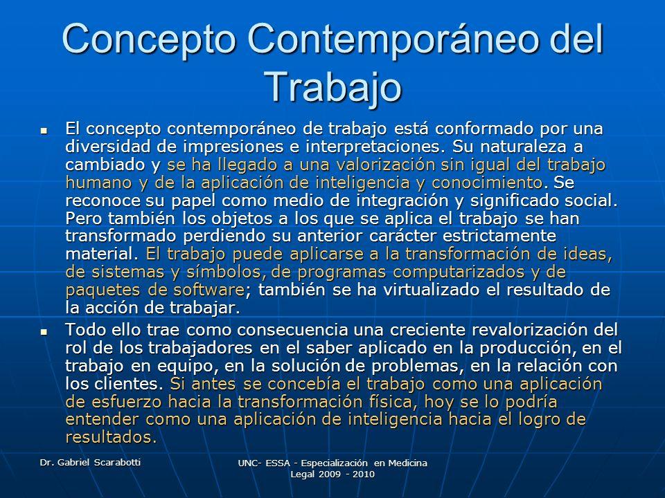 Dr. Gabriel Scarabotti UNC- ESSA - Especialización en Medicina Legal 2009 - 2010 Concepto Contemporáneo del Trabajo El concepto contemporáneo de traba