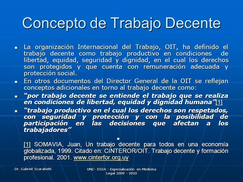 Dr. Gabriel Scarabotti UNC- ESSA - Especialización en Medicina Legal 2009 - 2010 Concepto de Trabajo Decente La organización Internacional del Trabajo