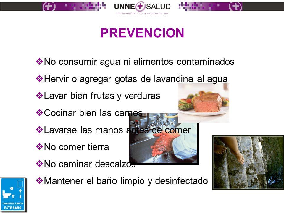 PREVENCION No consumir agua ni alimentos contaminados Hervir o agregar gotas de lavandina al agua Lavar bien frutas y verduras Cocinar bien las carnes