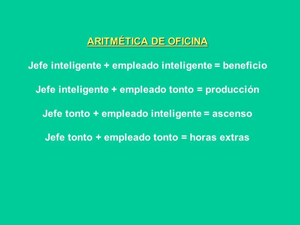 ARITMÉTICA DE OFICINA Jefe inteligente + empleado inteligente = beneficio Jefe inteligente + empleado tonto = producción Jefe tonto + empleado intelig