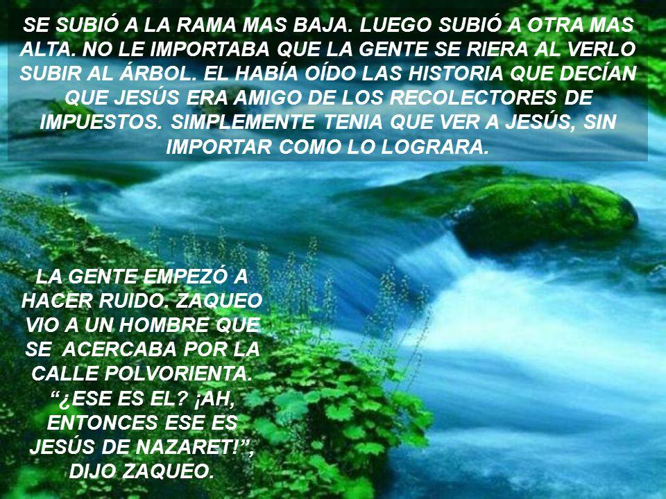 EN JERICÓ HABÍA UN HOMBRE RICO LLAMADO ZAQUEO. EL ERA EL PRINCIPAL RECOLECTOR DE IMPUESTOS EN ESA ZONA. GANABA MUCHO DINERO PARA SI Y PARA LOS ROMANOS