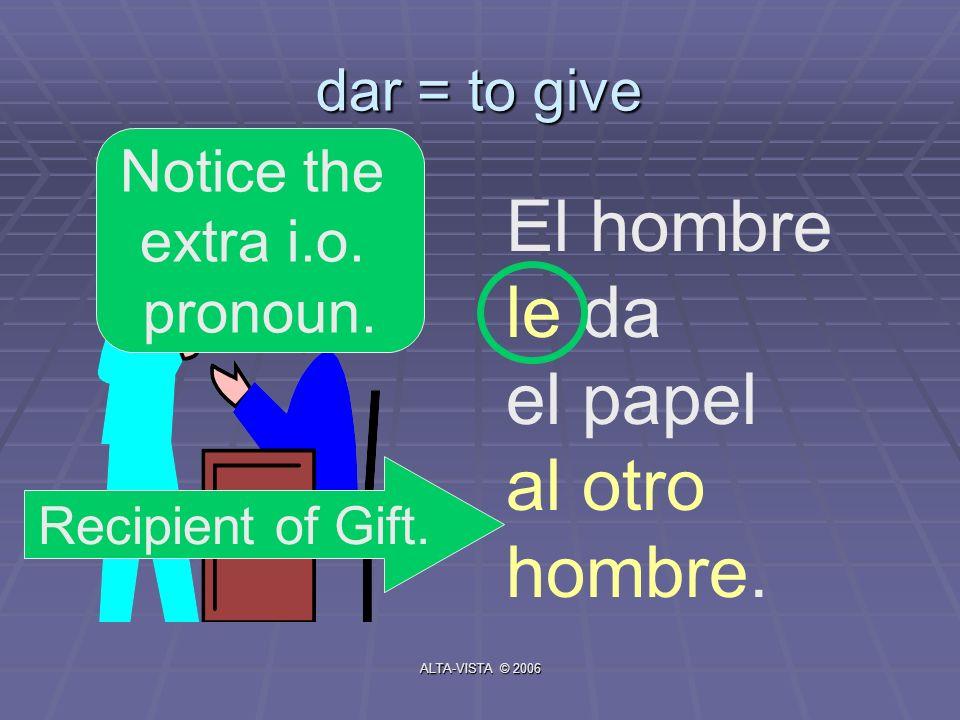 dar = to give El hombre le da el papel al otro hombre. Recipient of Gift. Notice the extra i.o. pronoun. ALTA-VISTA © 2006
