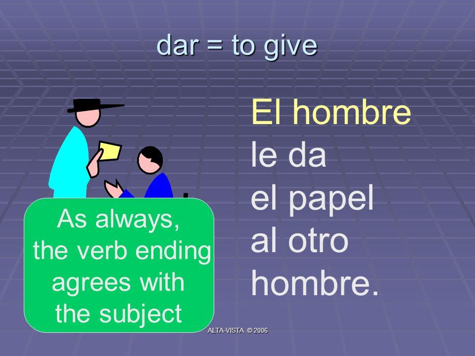 dar = to give El hombre le da el papel al otro hombre. As always, the verb ending agrees with the subject ALTA-VISTA © 2006