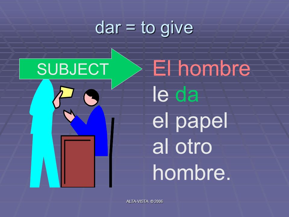 dar = to give El hombre le da el papel al otro hombre. SUBJECT ALTA-VISTA © 2006