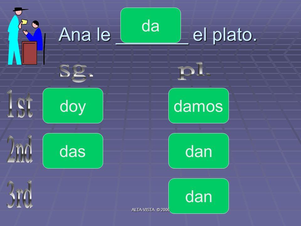 Ana le _______ el plato. doy da das dan damos ALTA-VISTA © 2006