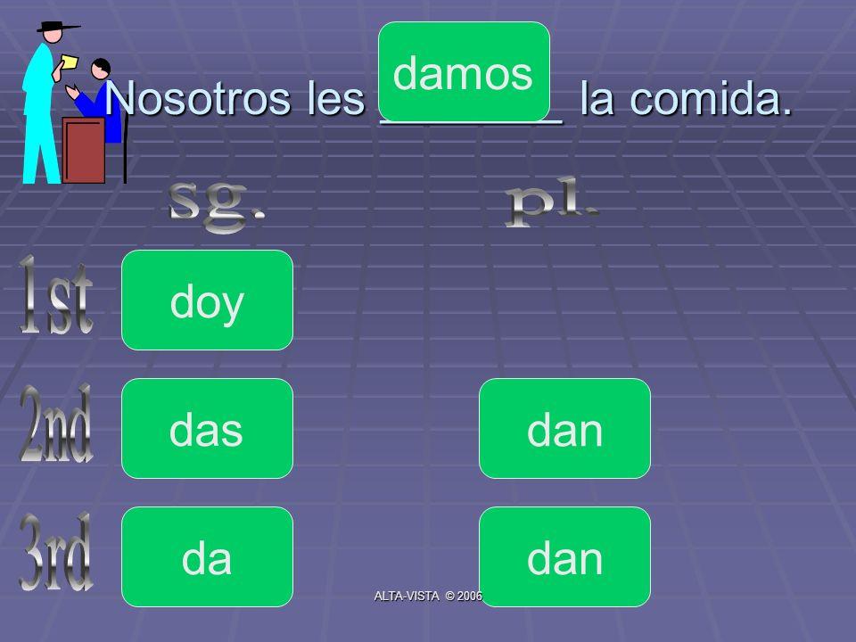 Nosotros les _______ la comida. doy da das dan damos ALTA-VISTA © 2006