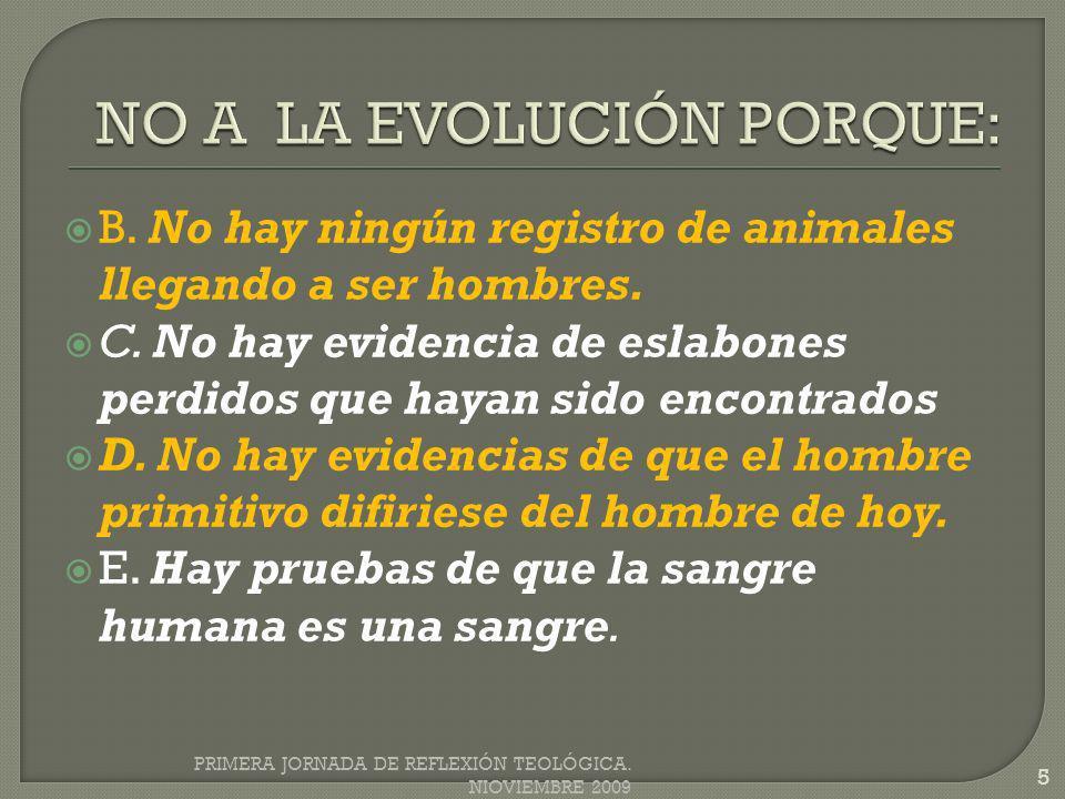 B. No hay ningún registro de animales llegando a ser hombres. C. No hay evidencia de eslabones perdidos que hayan sido encontrados D. No hay evidencia