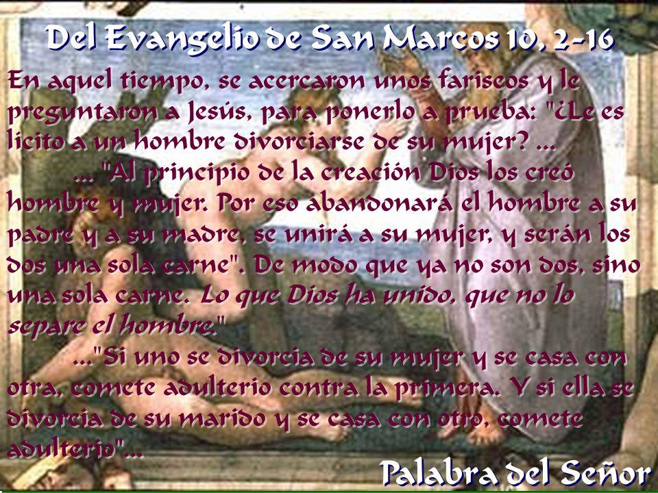 En aquel tiempo, se acercaron unos fariseos y le preguntaron a Jesús, para ponerlo a prueba: ¿Le es lícito a un hombre divorciarse de su mujer?......
