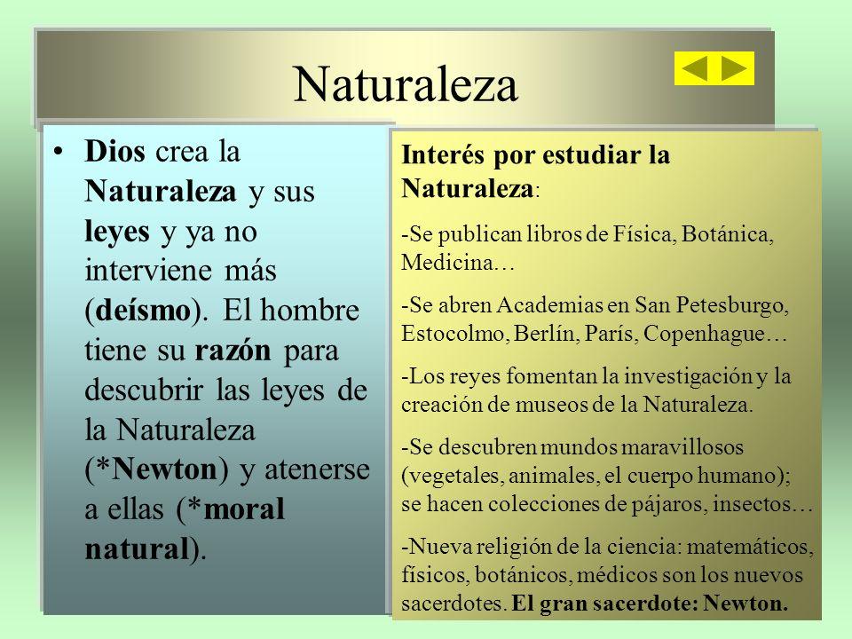 Naturaleza Dios crea la Naturaleza y sus leyes y ya no interviene más (deísmo).