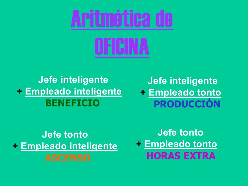 Aritmética de OFICINA Jefe inteligente + Empleado inteligente BENEFICIO Jefe inteligente + Empleado tonto PRODUCCIÓN Jefe tonto + Empleado inteligente ASCENSO Jefe tonto + Empleado tonto HORAS EXTRA