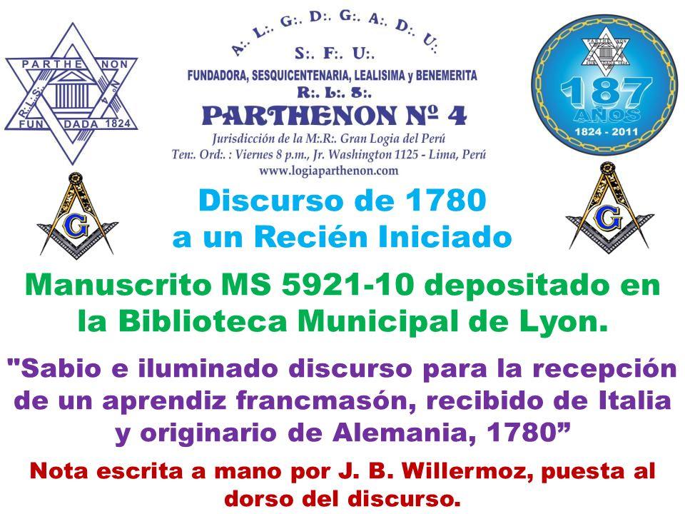 Discurso de 1780 a un Recién Iniciado Manuscrito MS 5921-10 depositado en la Biblioteca Municipal de Lyon.