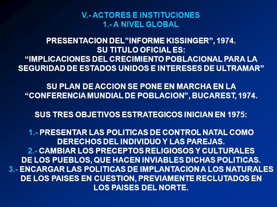 V.- ACTORES E INSTITUCIONES 1.- A NIVEL GLOBAL PRESENTACION DELINFORME KISSINGER, 1974. SU TITULO OFICIAL ES: IMPLICACIONES DEL CRECIMIENTO POBLACIONA