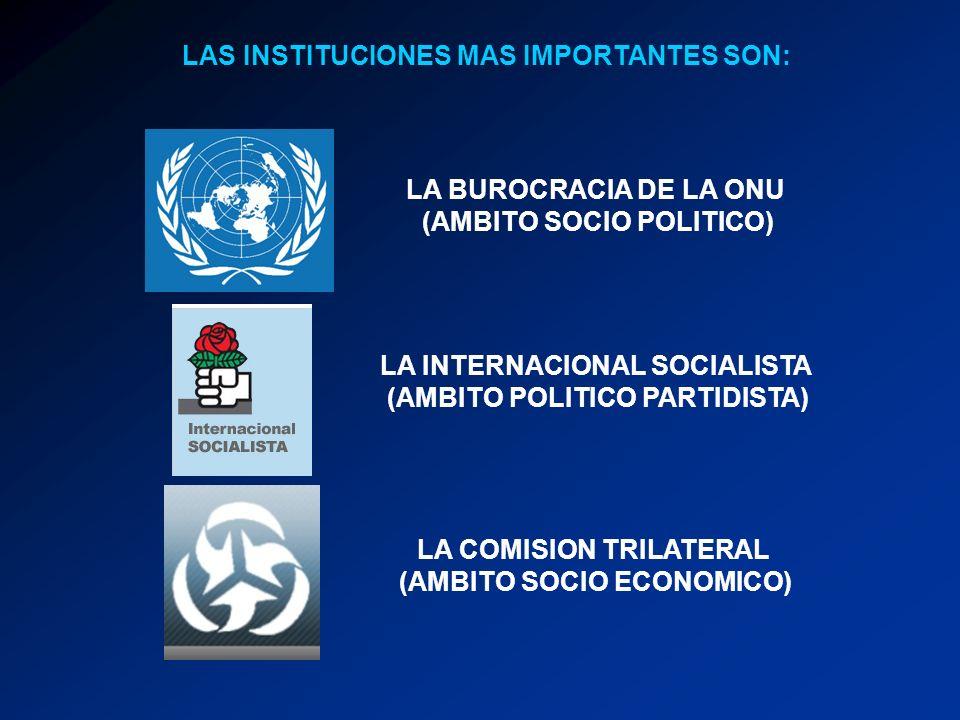 LAS INSTITUCIONES MAS IMPORTANTES SON: LA BUROCRACIA DE LA ONU (AMBITO SOCIO POLITICO) LA INTERNACIONAL SOCIALISTA (AMBITO POLITICO PARTIDISTA) LA COMISION TRILATERAL (AMBITO SOCIO ECONOMICO)