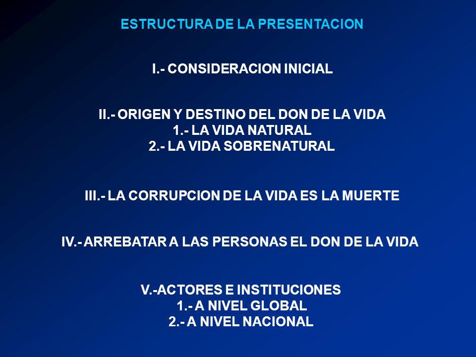 ESTRUCTURA DE LA PRESENTACION I.- CONSIDERACION INICIAL II.- ORIGEN Y DESTINO DEL DON DE LA VIDA 1.- LA VIDA NATURAL 2.- LA VIDA SOBRENATURAL III.- LA CORRUPCION DE LA VIDA ES LA MUERTE IV.- ARREBATAR A LAS PERSONAS EL DON DE LA VIDA V.-ACTORES E INSTITUCIONES 1.- A NIVEL GLOBAL 2.- A NIVEL NACIONAL