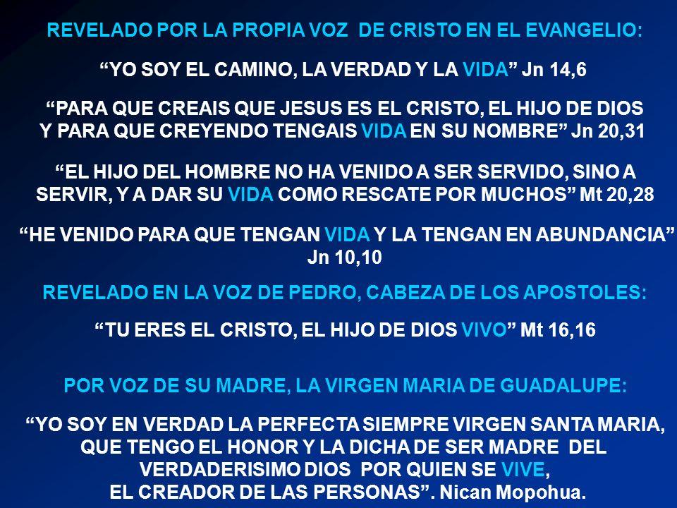 YO SOY EL CAMINO, LA VERDAD Y LA VIDA Jn 14,6 PARA QUE CREAIS QUE JESUS ES EL CRISTO, EL HIJO DE DIOS Y PARA QUE CREYENDO TENGAIS VIDA EN SU NOMBRE Jn 20,31 EL HIJO DEL HOMBRE NO HA VENIDO A SER SERVIDO, SINO A SERVIR, Y A DAR SU VIDA COMO RESCATE POR MUCHOS Mt 20,28 HE VENIDO PARA QUE TENGAN VIDA Y LA TENGAN EN ABUNDANCIA Jn 10,10 YO SOY EN VERDAD LA PERFECTA SIEMPRE VIRGEN SANTA MARIA, QUE TENGO EL HONOR Y LA DICHA DE SER MADRE DEL VERDADERISIMO DIOS POR QUIEN SE VIVE, EL CREADOR DE LAS PERSONAS.