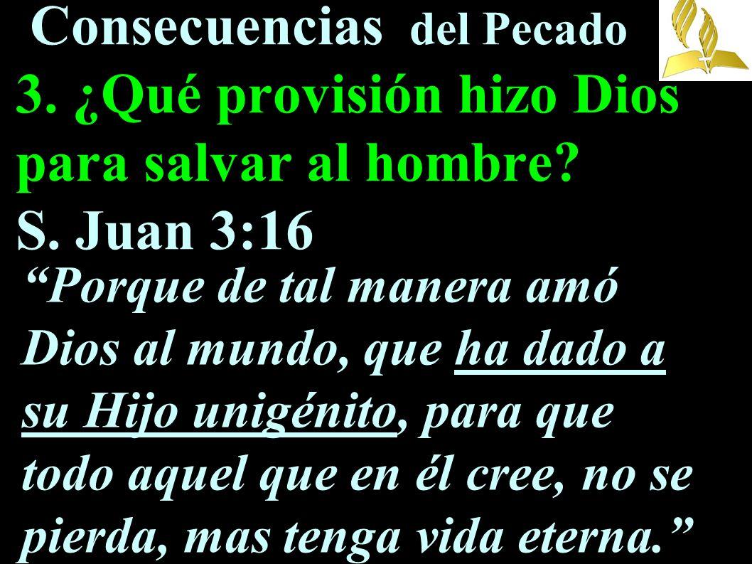Consecuencias del Pecado 3. ¿Qué provisión hizo Dios para salvar al hombre? S. Juan 3:16 Porque de tal manera amó Dios al mundo, que ha dado a su Hijo