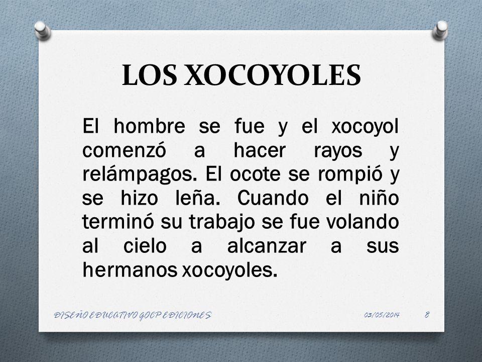 LOS XOCOYOLES El hombre se fue y el xocoyol comenzó a hacer rayos y relámpagos. El ocote se rompió y se hizo leña. Cuando el niño terminó su trabajo s