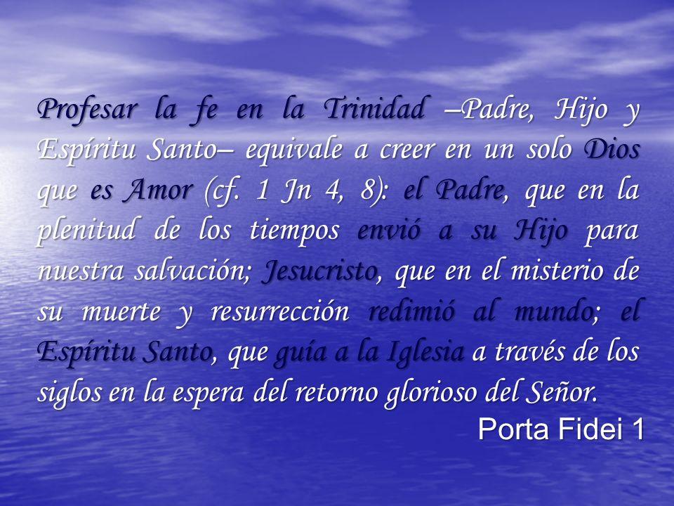 Profesar la fe en la Trinidad –Padre, Hijo y Espíritu Santo– equivale a creer en un solo Dios que es Amor (cf.