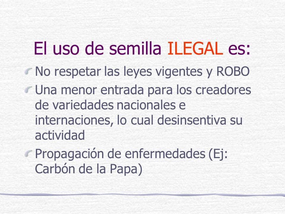 El uso de semilla ILEGAL es: No respetar las leyes vigentes y ROBO Una menor entrada para los creadores de variedades nacionales e internaciones, lo cual desinsentiva su actividad Propagación de enfermedades (Ej: Carbón de la Papa)