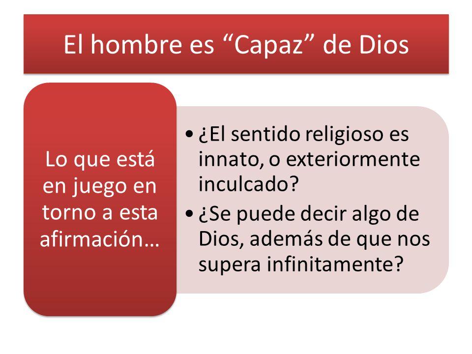 El hombre es Capaz de Dios ¿El sentido religioso es innato, o exteriormente inculcado.