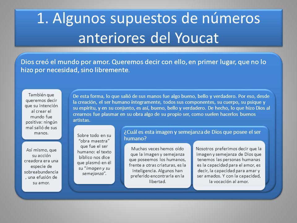 1. Algunos supuestos de números anteriores del Youcat Dios creó el mundo por amor. Queremos decir con ello, en primer lugar, que no lo hizo por necesi