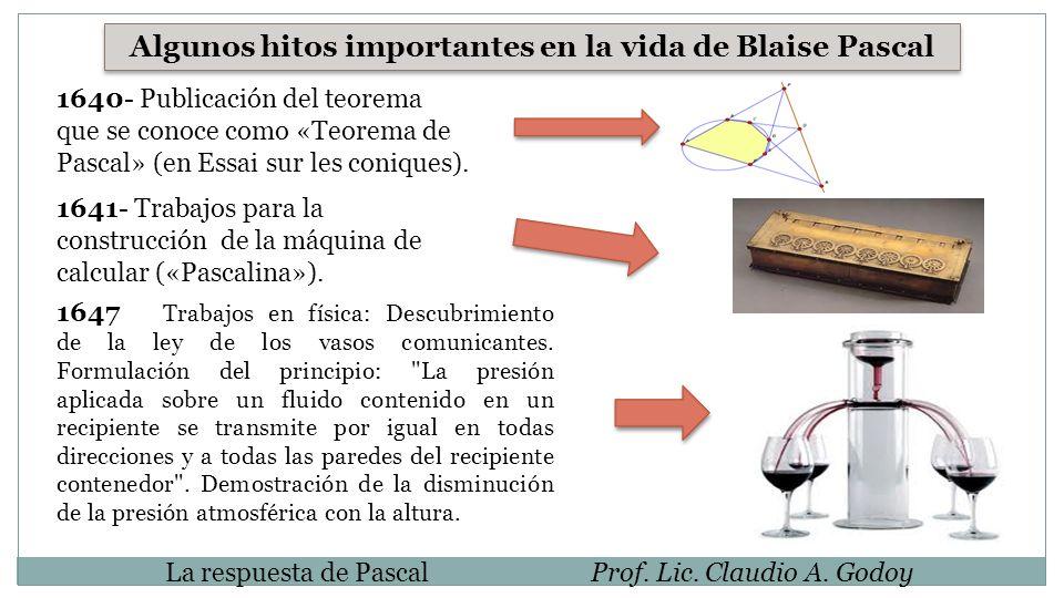 Algunos hitos importantes en la vida de Blaise Pascal 1640- Publicación del teorema que se conoce como «Teorema de Pascal» (en Essai sur les coniques)