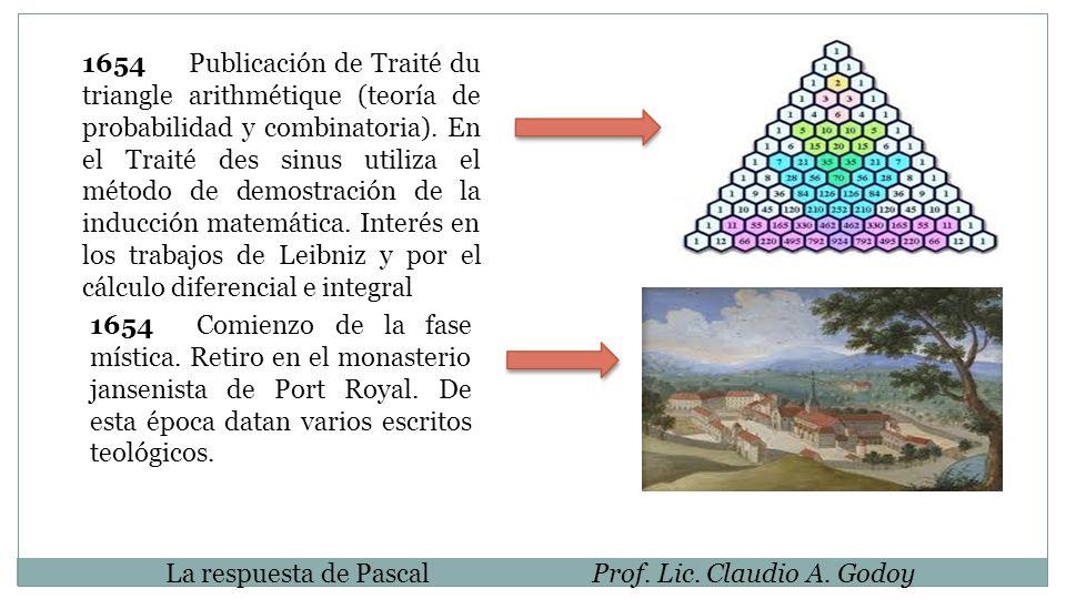 1654Publicación de Traité du triangle arithmétique (teoría de probabilidad y combinatoria). En el Traité des sinus utiliza el método de demostración d