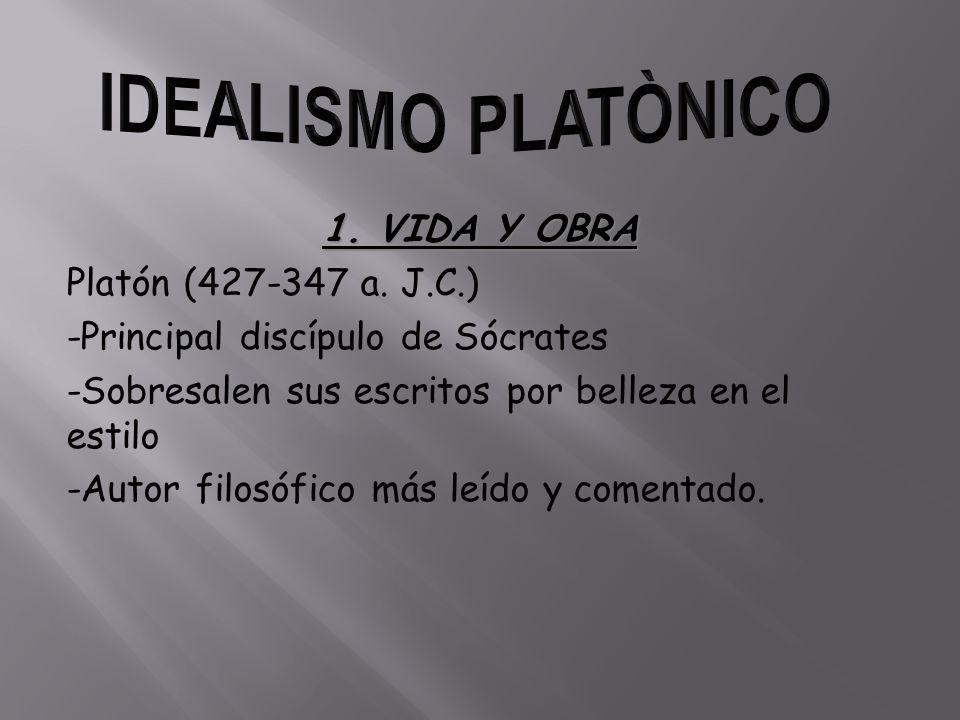 1. VIDA Y OBRA Platón (427-347 a. J.C.) -Principal discípulo de Sócrates -Sobresalen sus escritos por belleza en el estilo -Autor filosófico más leído